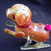 Wind-Up Tin Lithograph Toy Dog, Hops on Hind Legs