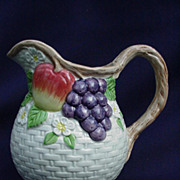 Vintage Fitz and Floyd Pitcher, Fruit and Basket Weave