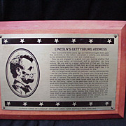 Gettysburg Address Mounted on Plaque from New York 1964-65 World's Fair
