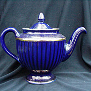 Hall Six-Cup Teapot, Cobalt and Gold