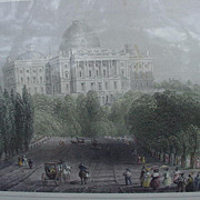 View of the Capitol at Washington, Hand-Colored Lithograph