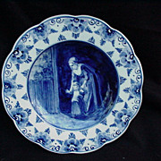 Vintage Delft Plate with Scalloped Rim, Figural Scene in Center