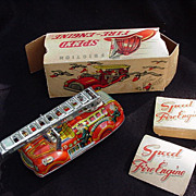 Friction Speed Fire-Engine, Litho Tin Toy, by San, Japan in Box