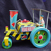 Road Roller Tin Lithograph Toy, Battery Operated