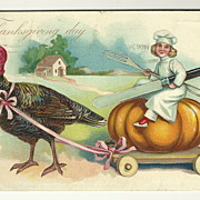 SALE Tuck's Pumpkin-Riding Chef Thanksgiving Postcard