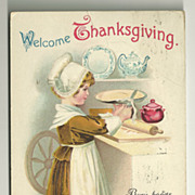 SALE Clapsaddle Thanksgiving Postcard - Pie Baking Girl