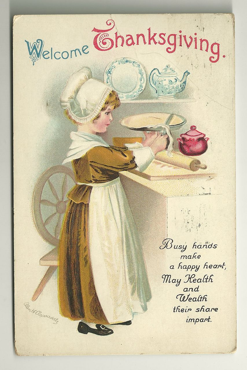 Clapsaddle Thanksgiving Postcard - Pie Baking Girl