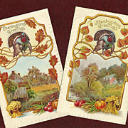 SALE Set of Two Meeker Thanksgiving Postcards with Turkeys, Leaves and Country Houses
