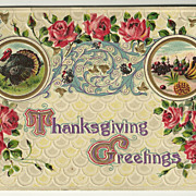 SALE Decorative Thanksgiving Postcard with Red Roses and Blue/Gold Flourishes