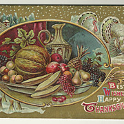 SALE Decorative Winter Thanksgiving Postcard
