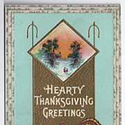 SALE Turquoise background Thanksgiving Postcard