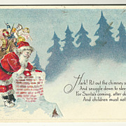 SALE Traditional Santa at Chimney Postcard