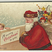 SALE Beautiful Signed Clapsaddle Christmas Postcard of Santa with Child
