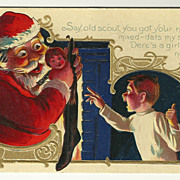 SALE Santa's Mistake - Humorous 1909 Santa Postcard
