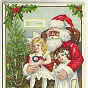 SALE Stecher Postcard - Victorian Style Girls with Santa
