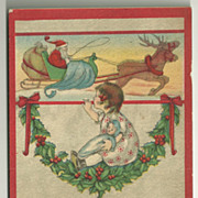 SALE 1915 Christmas Postcard with LIttle Girl Watching Santa in his Sleigh