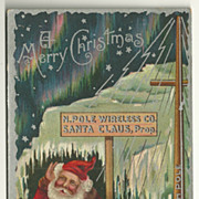 SALE 1909 North Pole Wireless Co. Santa Postcard w/ Northern Lights