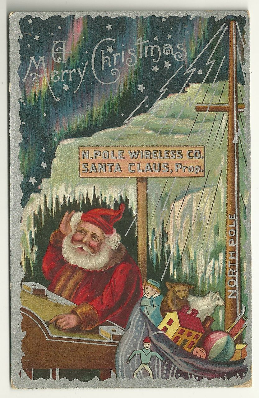 1909 North Pole Wireless Co. Santa Postcard w/ Northern Lights