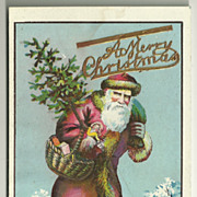 SALE Old Time Santa Postcard with Embellishment