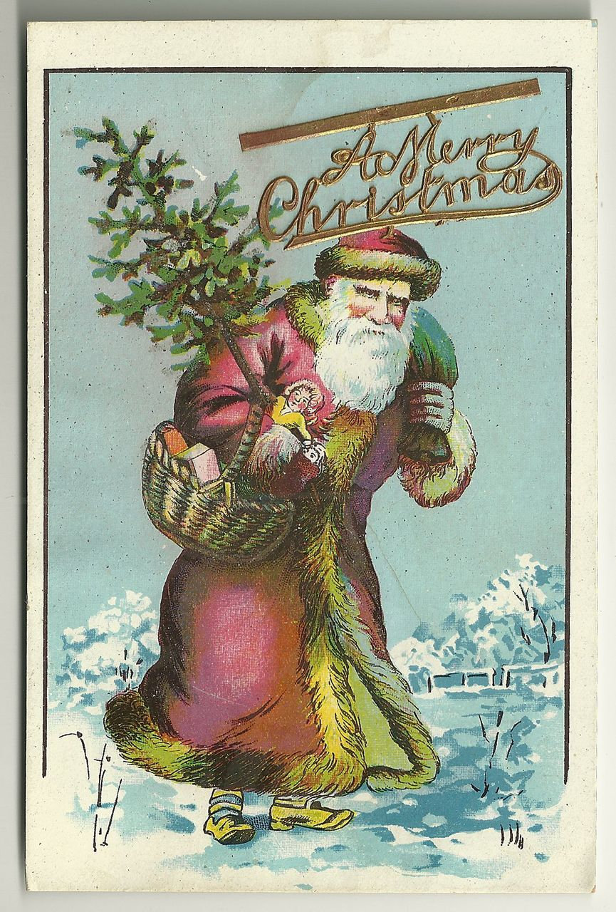 Old Time Santa Postcard with Embellishment