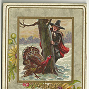 SALE Thanksgiving Postcard by J.J. Meeks with Pilgrim and Turkey