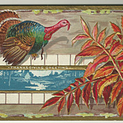 SALE Thanksgiving Postcard from Nash with Gorgeous Fall Leaves and Turkey
