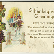 1913 Nash Thanksgiving Postcard - Pilgrim with Turkey
