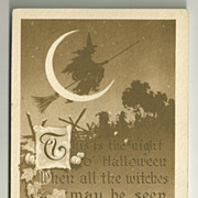 1910 Gibson Art Co Sepia Monochrome Halloween Postcard