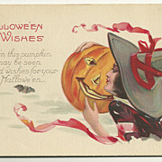 Halloween Stecher Postcard with Beautiful Witch, JOL, Bats