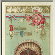 Patriotic Thanksgiving Postcard in Pale Turquoise
