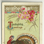Patriotic Thanksgiving Postcard in Mint Green