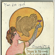 Rose Company Thanksgiving Postcard with Champagne Toast