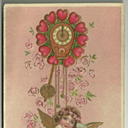 Valentine Cupid with Clock and Glass of Wine