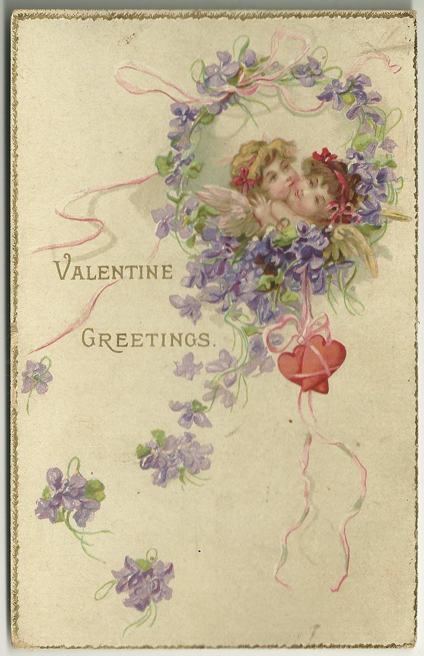 Unsigned Frances Brundage Valentine Postcard with Cupids and Violets