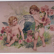 Cupids on Pink Silk Valentine Postcard with Winsch-Style Back