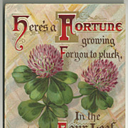 SOLD Four Leaf Clover Good Luck Postcard