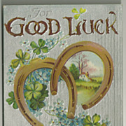 Horseshoes and Four Leaf Clovers Good Luck Postcard