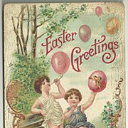 Embossed Easter Fantasy Postcard with Children Blowing Eggs from Pipe