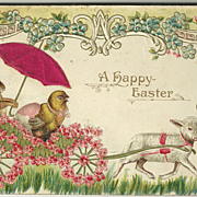 Easter Postcard of Chick and Bunny in Cart pulled by Lamb