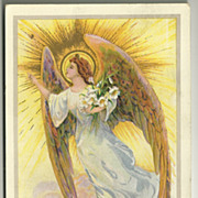 Embossed Angel with Easter Lilies 1916 Postcard