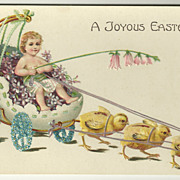 Chick Drawn Carriage Easter Postcard