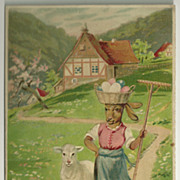 Easter Postcard with Alpine Goat Dressed in Woman's Clothing