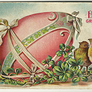 Easter Postcard with Pink Egg, Chicks and Clovers