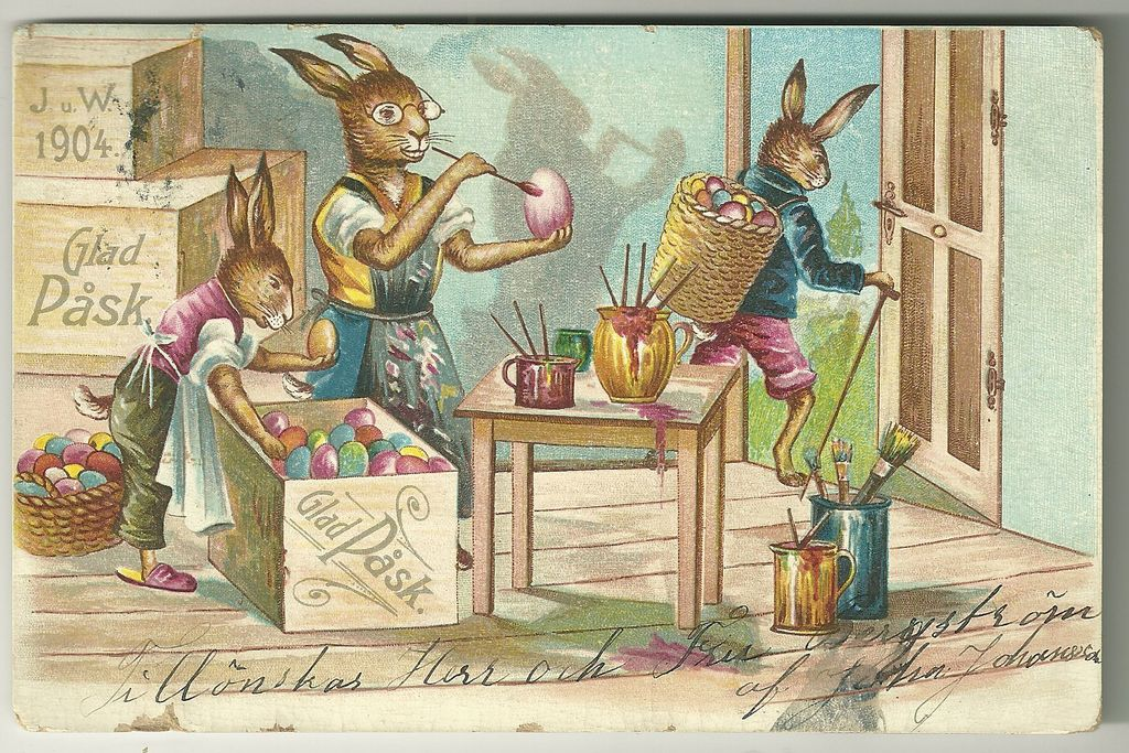 Glad Pask Swedish Easter Bunnies' Workshop Postcard