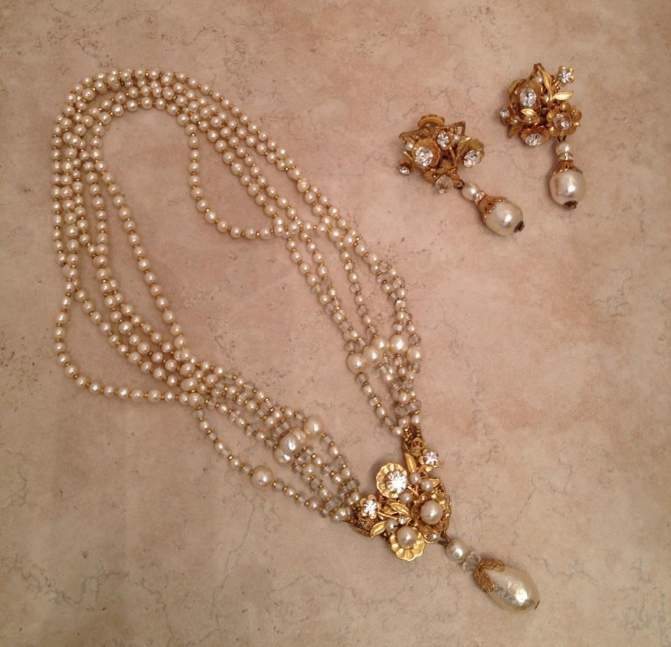Vintage Miriam Haskell Rhinestone and Glass Pearl Necklace and Earring Demi-Parure