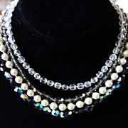 Four-Strand Crystal & Faux Pearl Necklace