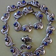 Taxco Mexican Sterling Silver & Amethyst Necklace, Bracelet & Earrings
