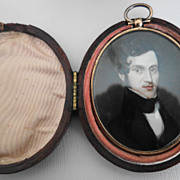 Antique Georgian Portrait Miniature in 12K Gold Frame/ Leather Case