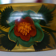 Reverse-Carved Apple Juice Bakelite Bangle Bracelet