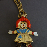 Hattie Carnegie Raggedy Ann Mechanical Necklace